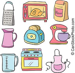 Doodle of equipment kitchen set vector art