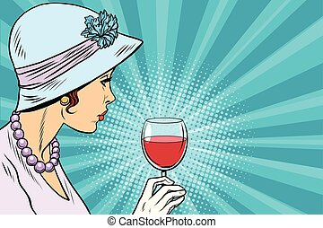 Retro lady with a glass of wine