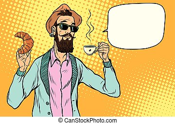Hipster with coffee and croissant