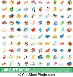 100 cute icons set, isometric 3d style