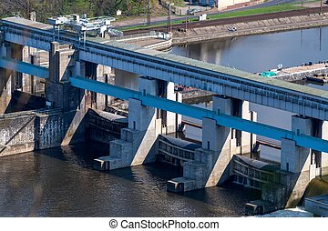 Masaryk sluice on Labe river in Strekov, near Usti nad...