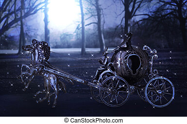 Magical carriage at night in the moonlight. - Magical...