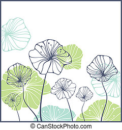 card with flowers - card with cute abstract flowers