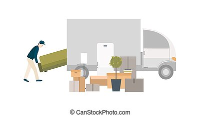 Worker loading things for transportation. Moving into a new house. Cartoon illustration in flat style.