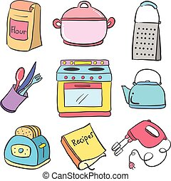 Collection kitchen equipment colorful doodle vector...