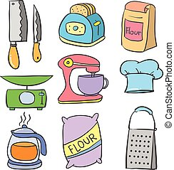 Vector art of kitchen equipment doodles collection stock