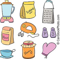 Doodle of kitchen equipment colorful style vector...