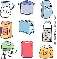 Collection stock kitchen set colorful doodles vector...