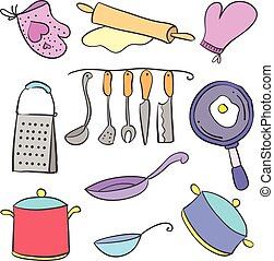 Doodle of kitchen set various collection vector illustration