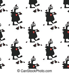 Seamless pattern: monster and birds. Vector background