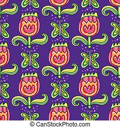 Seamless floral pattern with flowers and butterfly