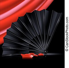 black fan, red drape and and petals - dark background, red...