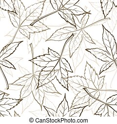 Maple Leaves, Seamles - Seamless Background with Pictogram...