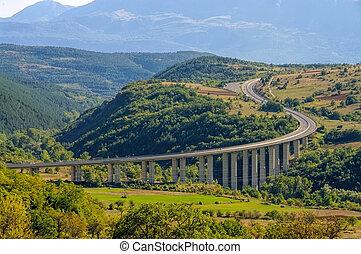 Gran Sasso freeway in Abruzzo, Italy