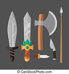 Knife weapon dangerous metallic vector illustration of sword...