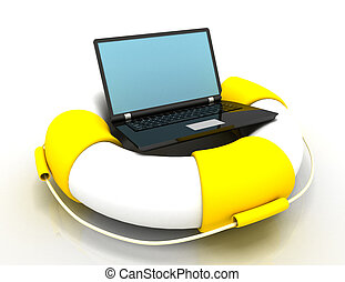 Life buoy with laptop .Internet and support concept. rendered illustration