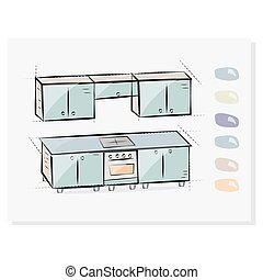 Kitchen interior drawing, vector illustration. Button choosing colors of furniture. The icon for the site.
