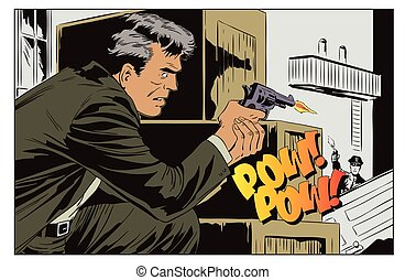 Criminal shoots at the police. Stock illustration.