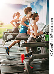 Friends Running On Treadmills At The Gym - Three young...
