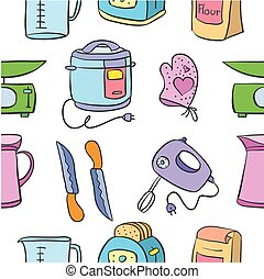 Vector art of kitchen set doodles collection stock