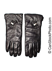 Black leather gloves isolated on the white background