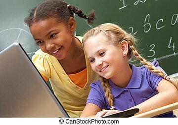 Computer genii - Portrait of two schoolgirls looking at the...