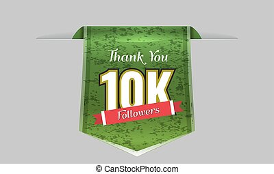 10000 followers illustration with thank you on a ribbon....