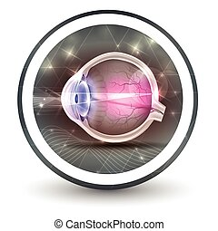 Eye sight round shape icon, abstract transparent shapes and...