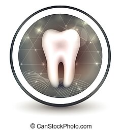 Healthy tooth round shape icon, abstract transparent shapes...