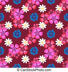 carnations, cornflowers and daisies2-01 - Seamless pattern...