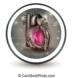 Heart round shape icon, abstract transparent shapes and wave...
