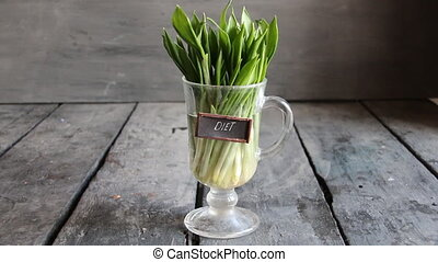 Diet idea. Wood garlic on vintage table and tag. - leaves of...