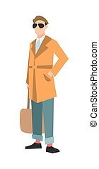Elegant fashion man in cardigan and jeans vector...