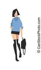 Elegant fashion girl in mini skirt and sweater vector...