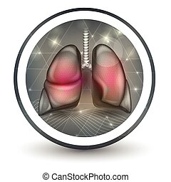 Lungs round shape icon, abstract transparent shapes and wave...