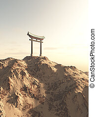 Japanese Torii Gate on a Lonely Mountain - Fantasy...