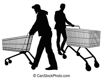 Silhouettes of men with shopping trolleys