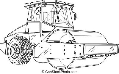 road roller, line drawing, vector file