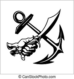 Vector illustration pirate emblem with crossed siber anchor....