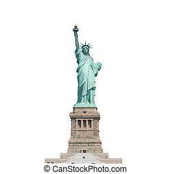 Statue of Liberty isolated on white background in New York...