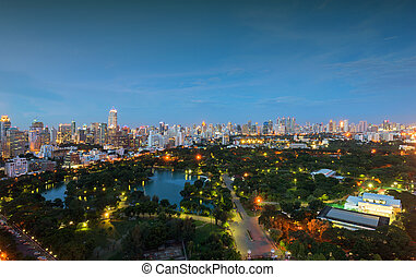 Lumpini Park in downtown at night, Bangkok, Thailand