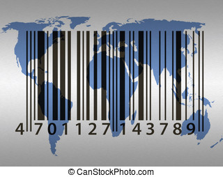 World trade - Trade concept showing barcode pattern over...