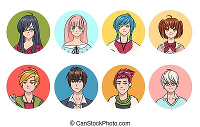Set of cute anime characters avatar. Cartoon girls and boys portraits. Colorful hand drawn illustration collection.