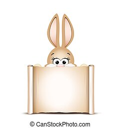 Easter card design template. Easter funny bunny. Happy...