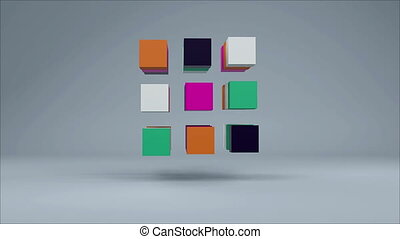 3D Cube. Colorful cubes on grey background. Seamless loop
