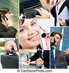 Business people and technology - Collage with business...