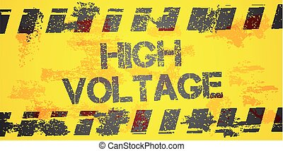 High Voltage Warning - detailed illustration of a grungy...