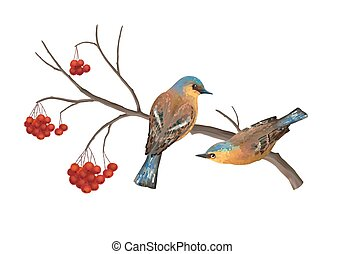 Vector Birds on Branch