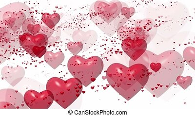 Flying red hearts on white