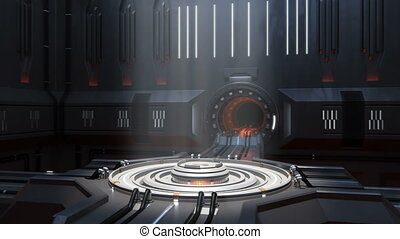 Sci-fi portal scene. 360-degree panorama. loop-able...